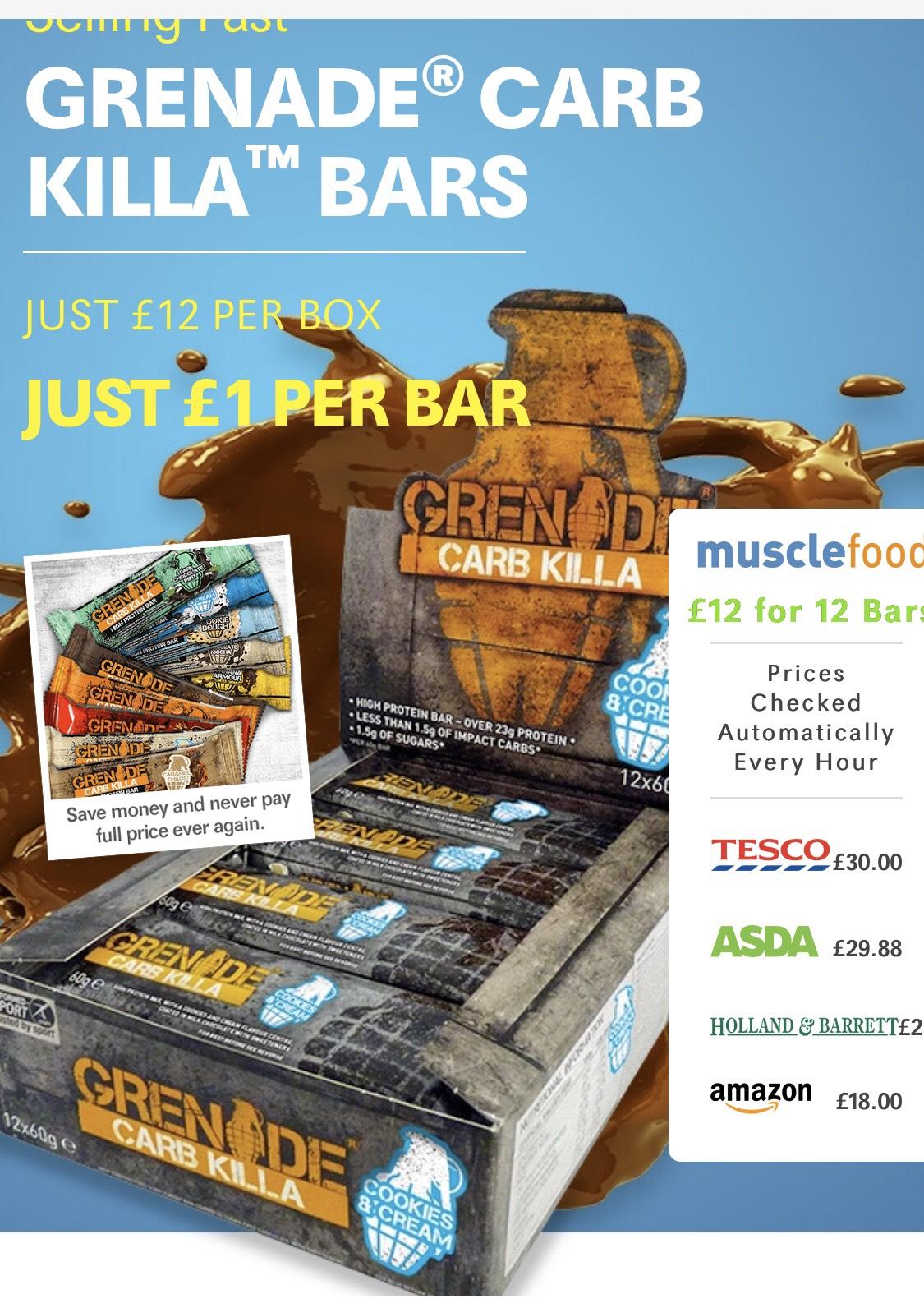 GRENADE® CARB KILLA™ BARS 12 bars for £12 + £3.99 del at musclefood