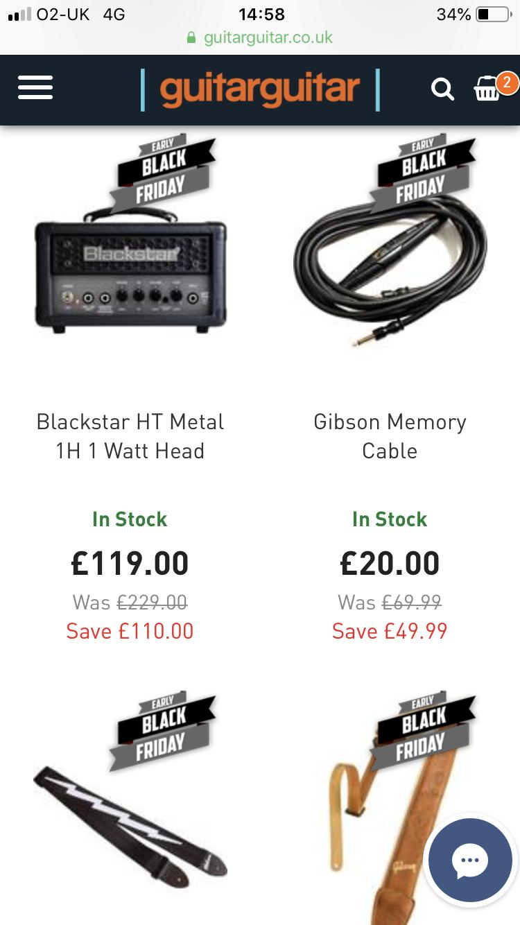 Guitarguitar - Black Friday sale - starts early e.g Blackstar HT Metal 1H 1 Watt Head £119