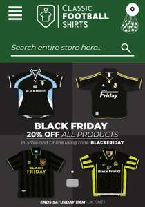 20% Off Everything at Classic Football Shirts