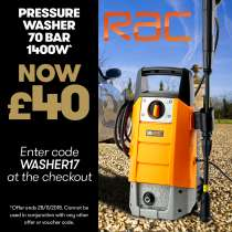 RAC Pressure Washer 70 Bar 1400W was £64.98 now £44.99 Delivered w/code (140 bar & 1900W version £89.99 delivered) @ JTF