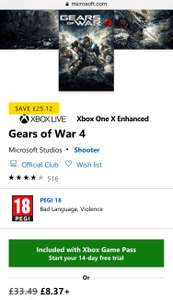 Gears of War 4 Xbox One Play Anywhere £8.37 MSStore