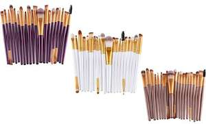20-Piece Make-Up Brush Set White, Purple or Bronze colour  £6.98  Delivered @ Groupon