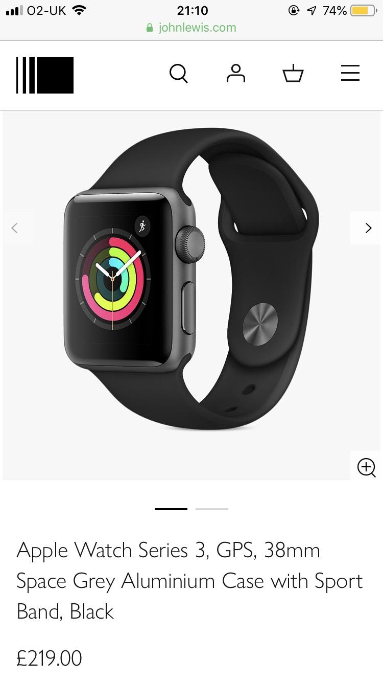 Apple Watch Series 3 38mm £219 42mm £249 at John Lewis & Partners