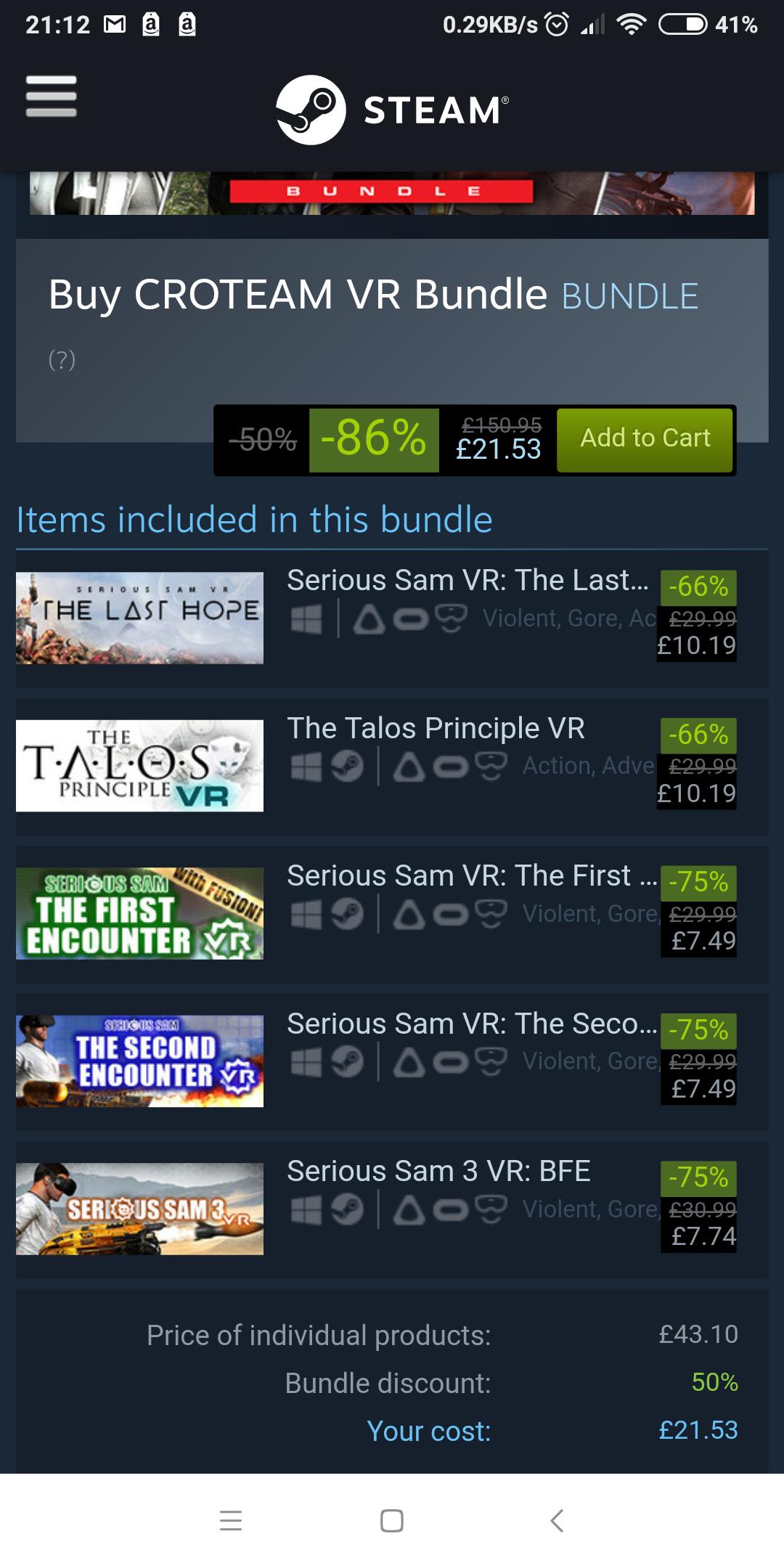 Croteam VR bundle  @ Steam just £21.53