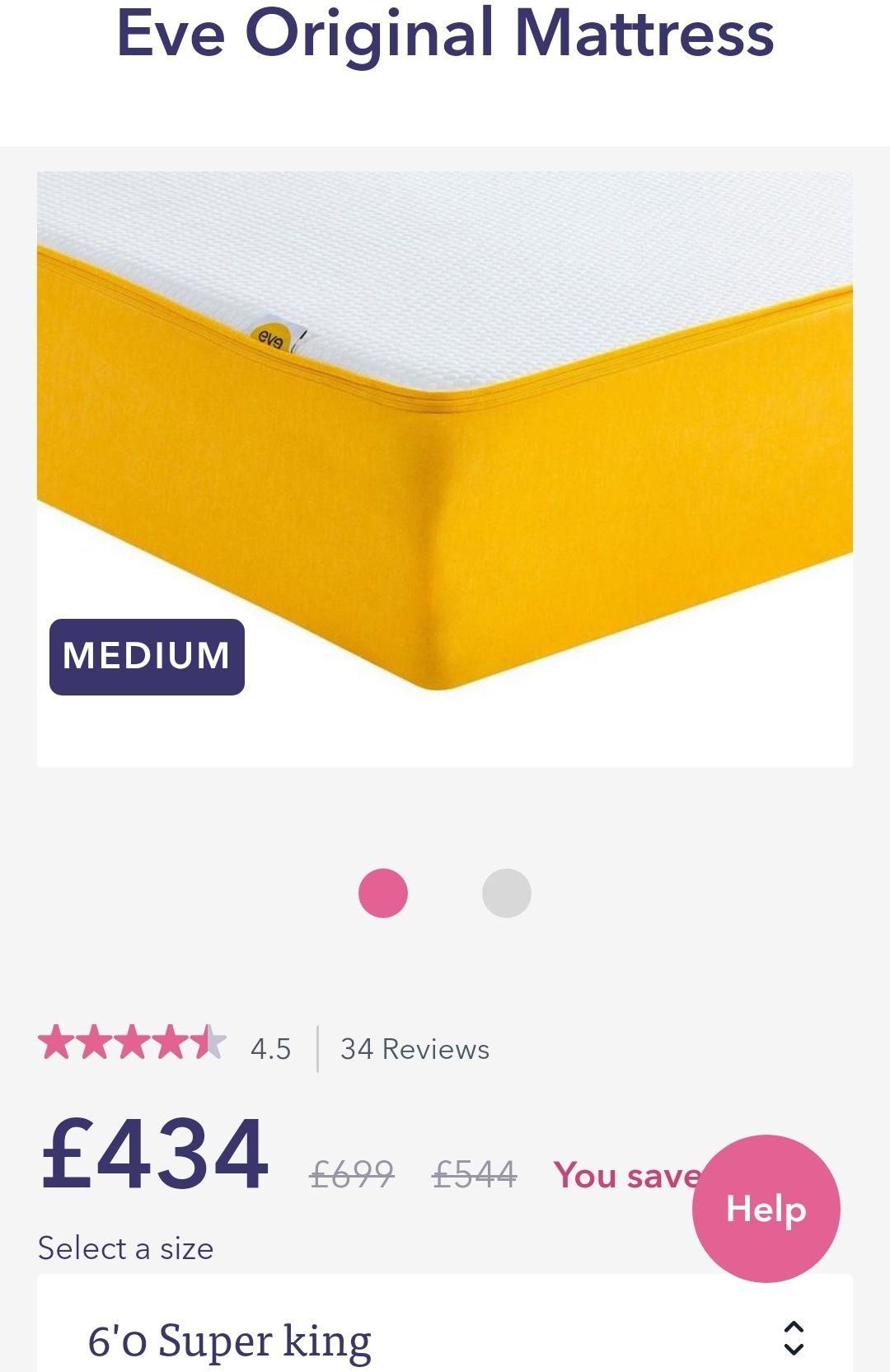 Eve superking mattress £434 @ Dreams