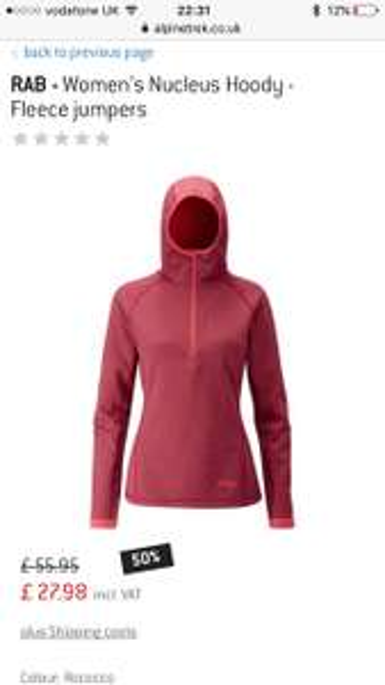RAB - Women's Nucleus Hoody - Fleece jumpers £27.98 / £31.97 delivered @ Alpine trek