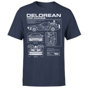 Back To The Future DeLorean Schematic T-Shirt Navy £7.99 Delivered @ IWOOT