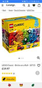 Free lego classic worth 19.97 when you spend £80 or more on selected lego sets at asda george online
