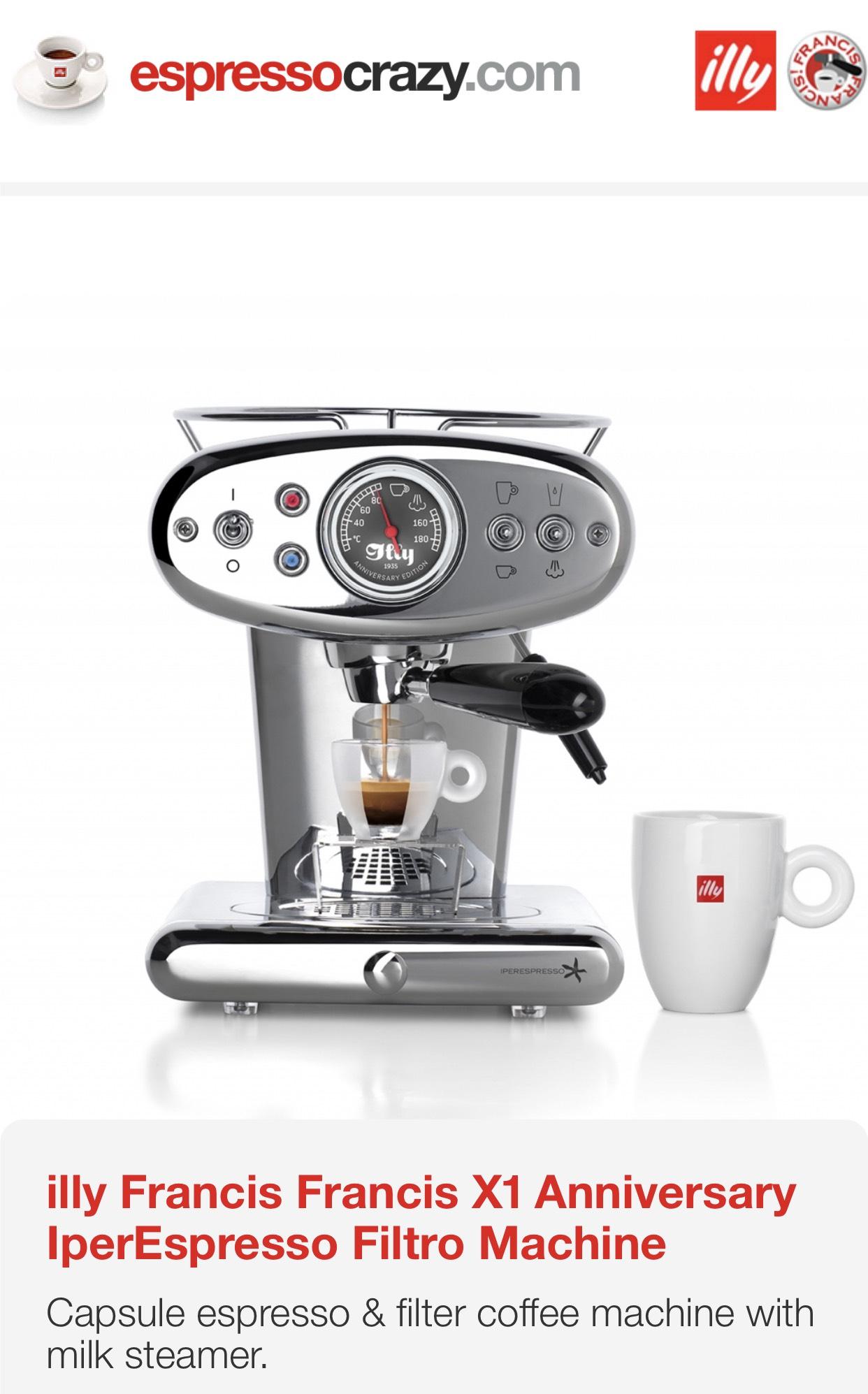 illy Francis X1 Anniversary IperEspresso Filtro Machine at Espresso Crazy for £277.50
