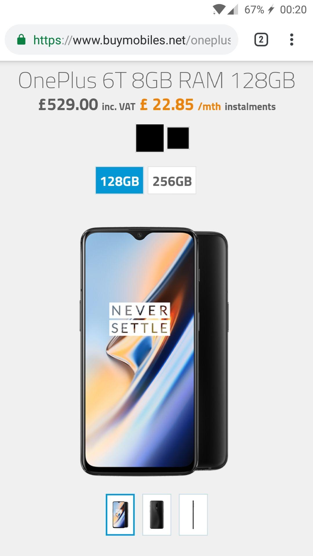 Oneplus 6t 8GB RAM Midnight or Mirror Black 80GB data £36pm / 24mth £864 before cashback @ BuyMobiles