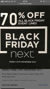 Next Black Friday sale now live!!! 70% off all Black Friday lines instore and online