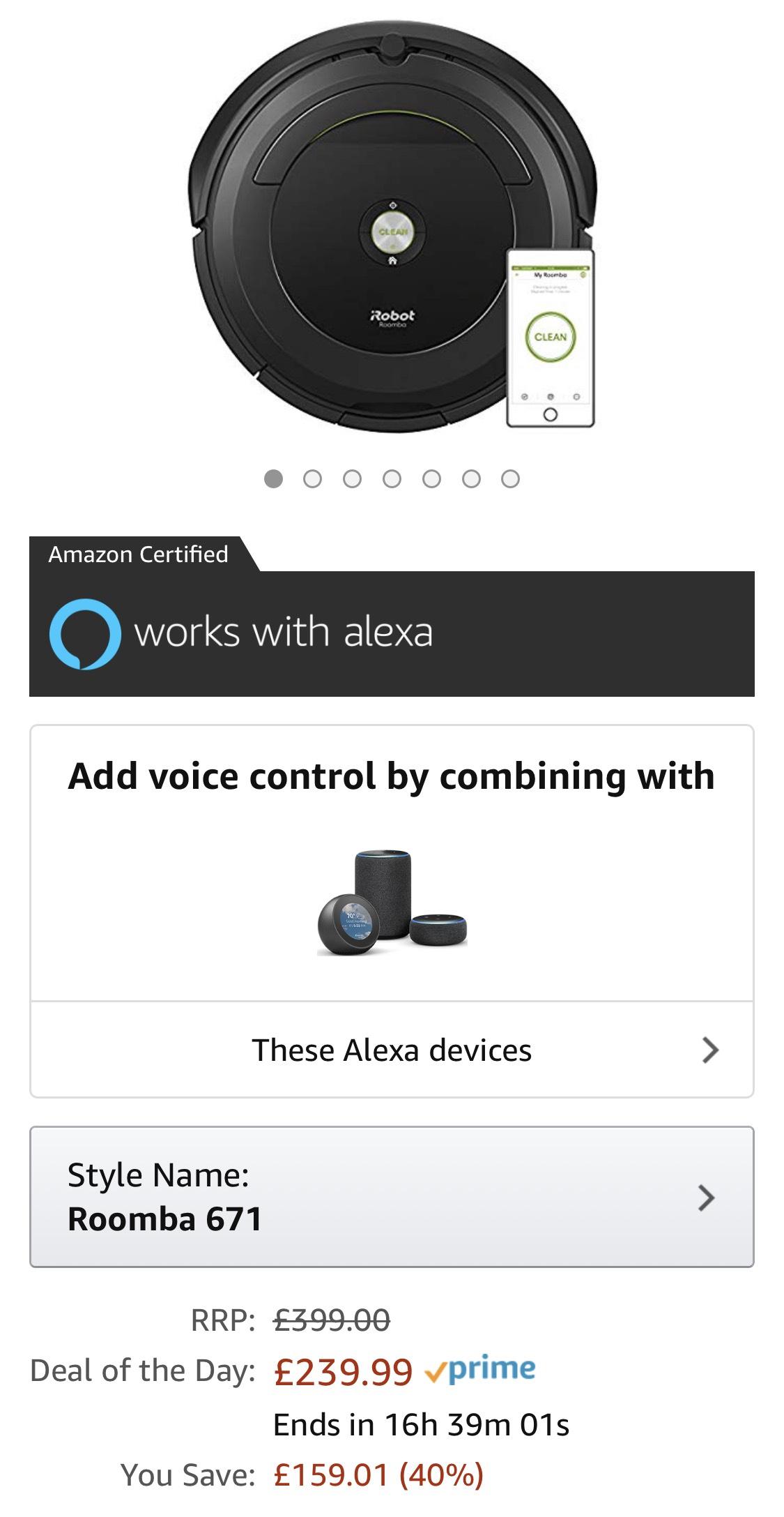 iRobot  Roomba 671 robot vacuum WiFi works with Alexa £239.99 Amazon