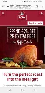 Toby Carvery £30 Gift Card For £25