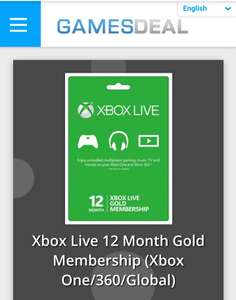 Xbox gold live 12 months. Email key (Not brazil) - £32.79 @ Gamesdeal