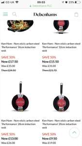 Ken Hom non-stick carbon steel induction woks from £9.50 @ Debenhams