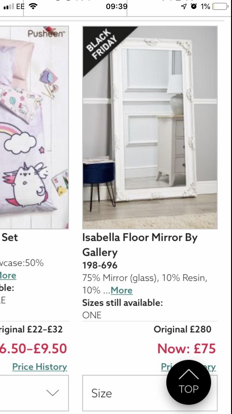 Isabella floor mirror £75 @ Next Black Friday Event