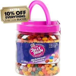 The Jelly Bean Factory Carry Jar 1.4kg £8.63  110g Tube 85p Factory Bean Machine 600g £16.19 with code In Store  @ JTF £4.99 Delivery