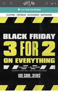 Everything 3for2 at Route One using code