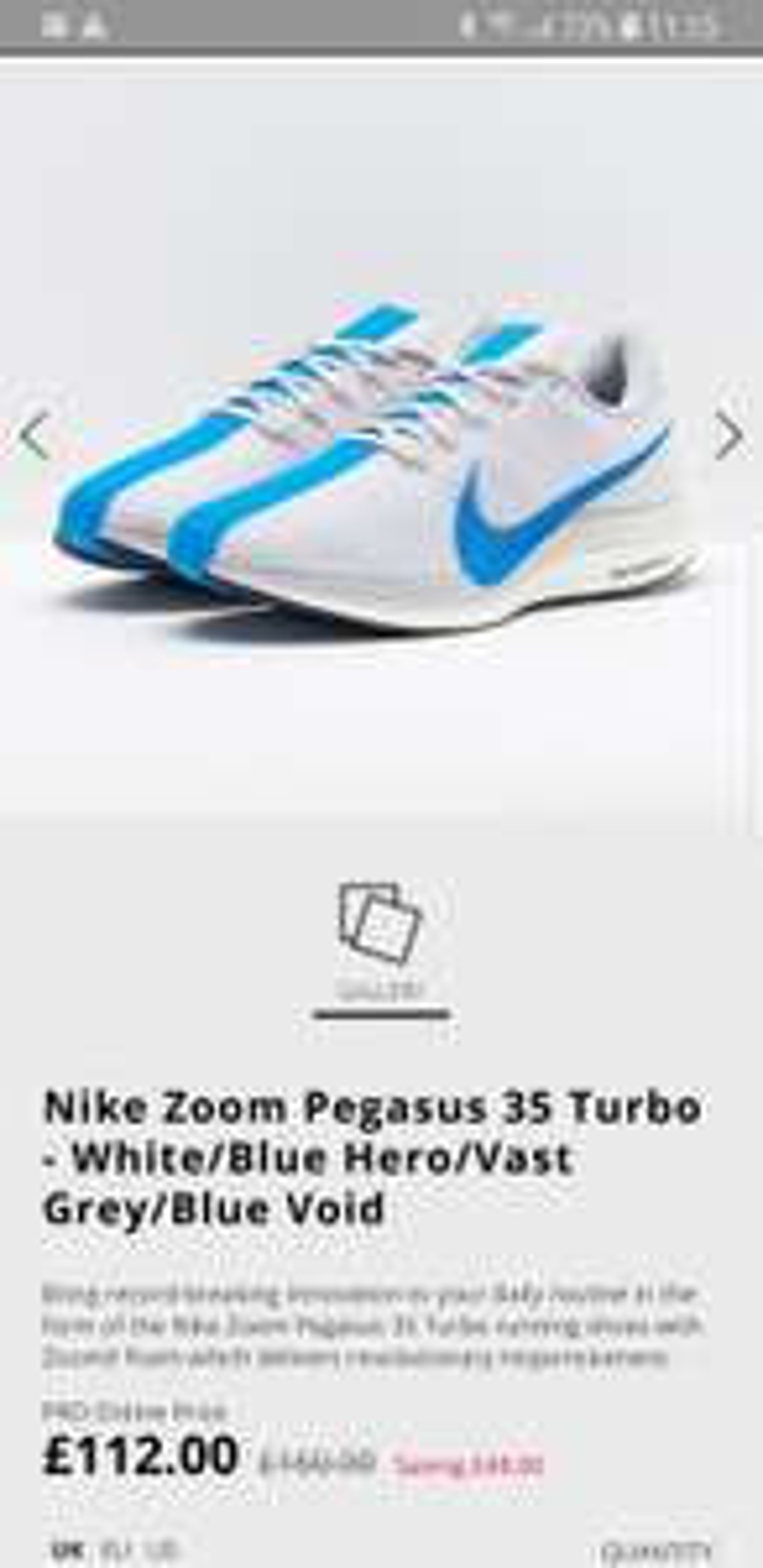 Nike Zoom Pegasus 35 Turbo at ProDirect Running for £112