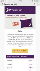 Purple Friday at Premier Inn £29 & under