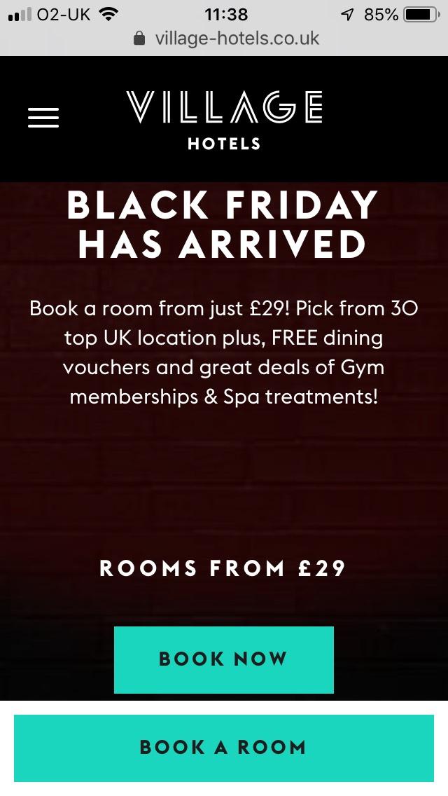 Village Hotels Black Friday Sale - Rooms for £29 plus free drink