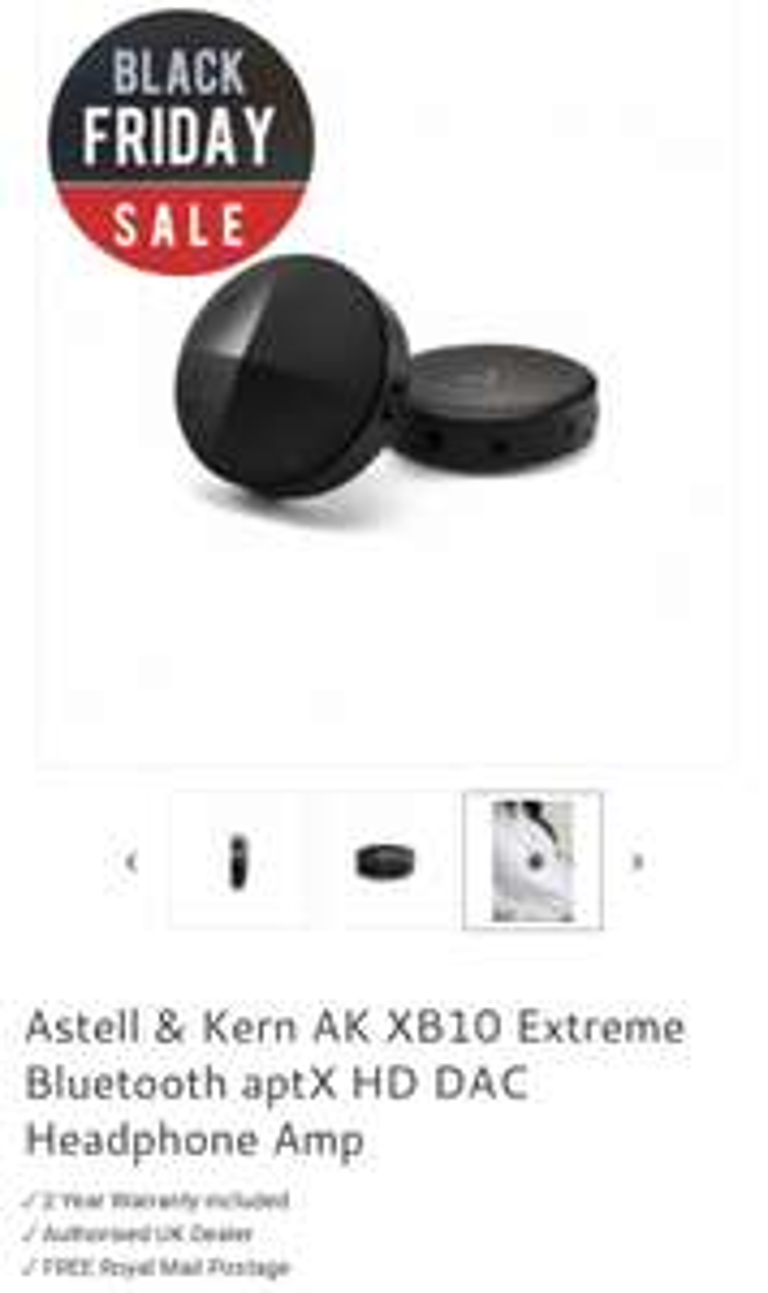 Astell & Kern AK XB10 Extreme Bluetooth aptX HD DAC Headphone Amp £89 40%off at Home AV Direct