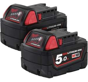 Milwaukee M18 M18B5 Red Lithium-Ion Battery 2 x 5.0Ah set - £99.99 @ Trade Counter Direct