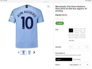 Football shirts with player name & number, free del, 15% cashback £38.95