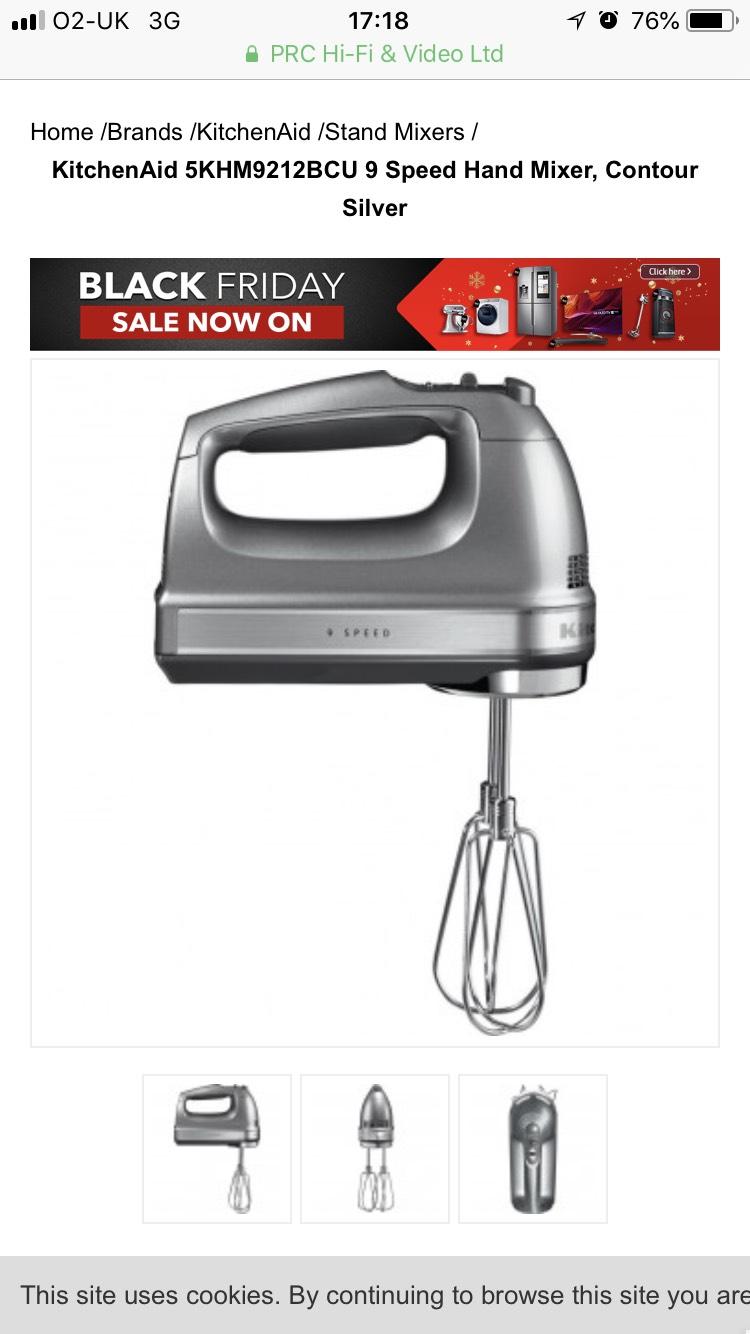 KitchenAid Silver Hand Mixer £93.90 @ PRC