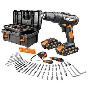 Worx Cordless 20V 1.5Ah Li-ion Brushed Drill Bundle with 2 batteries, Toolbox and 55pc accessory set - £75 @ B&Q (Free C&C or Delivery)