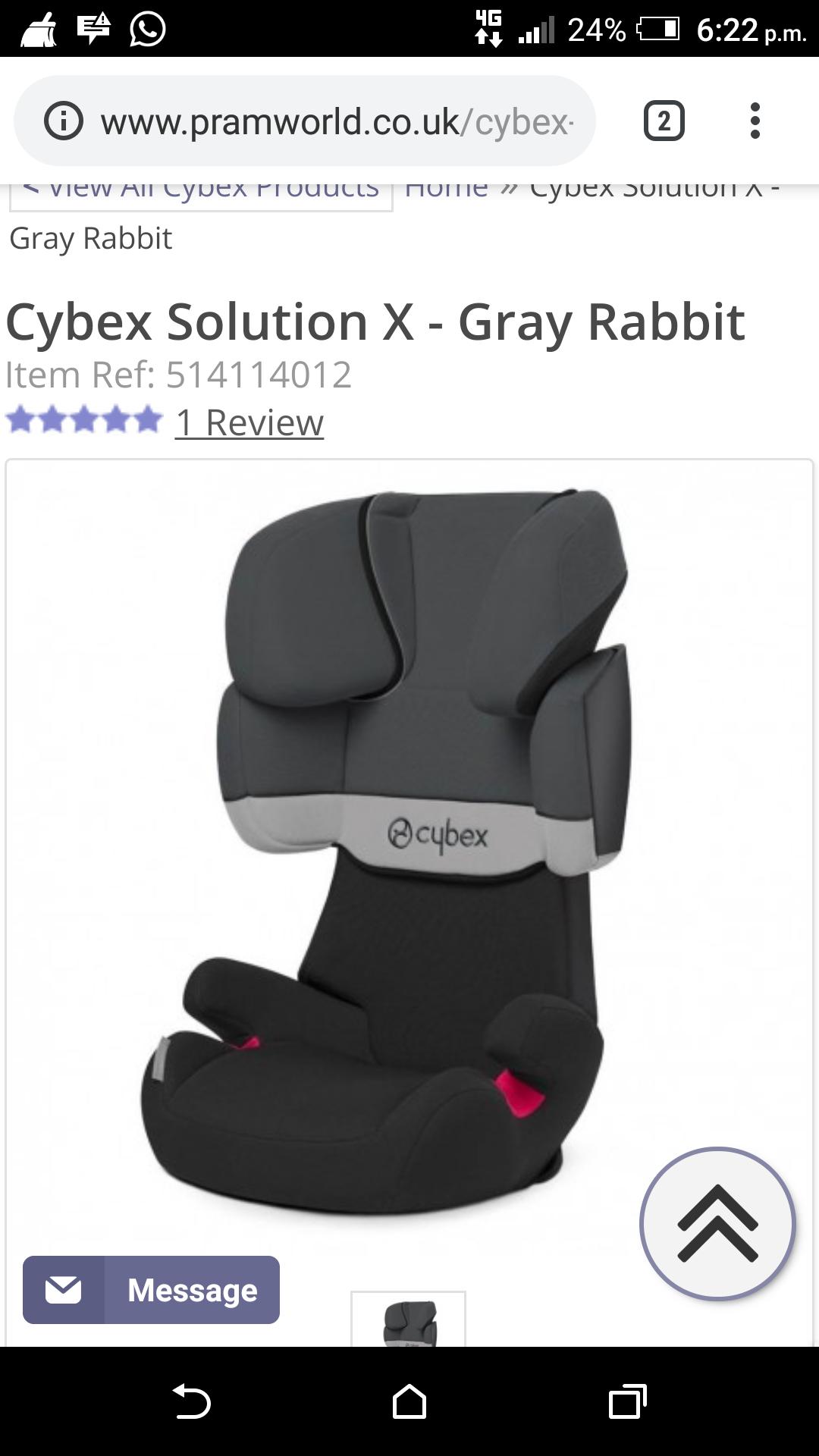 Cybex Solution x grey £54 @ Winstanleys Pramworld