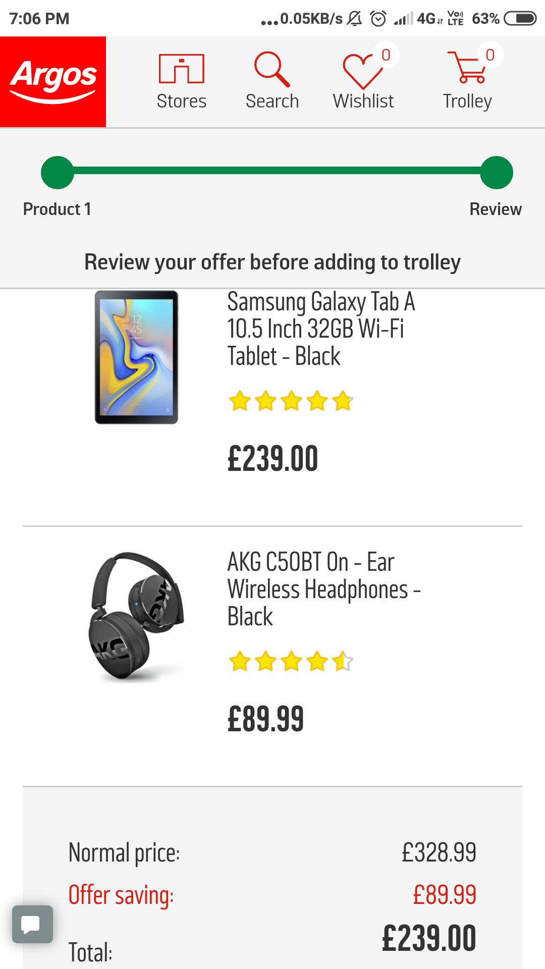 Samsung galaxy tab a 10.5 free AKG C50BT headphones £239 @ Argos