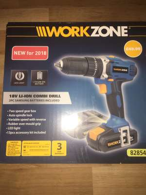 Aldi workzone 18v li-ion combo drill, 2 batteries £20.00, half price, also compressor half price was £70 now £35 instore @ ALDI (Halesowen)