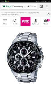 Casio Edifice Stainless Steel Black Dial Chronograph Mens Watch £89 @ Very