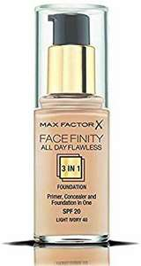 Max Factor Facefinity 3-in-1 All Day Flawless Foundation, SPF 20, Light Ivory 40, 30 ml £3.98 + £4.49 delivery non Prime @ Amazon