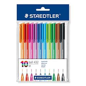STAEDTLER 43235MBP10 Medium Rainbow Ballpoint Pens, Assorted Colours, Pack of 10 £2.36 + £4.49 delivery non Prime @ Amazon