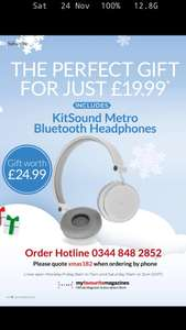 Subscribe to T3 Magazine and get Kitsound Bluetooth Headphones. £15.99 @ My Favourite Magazines