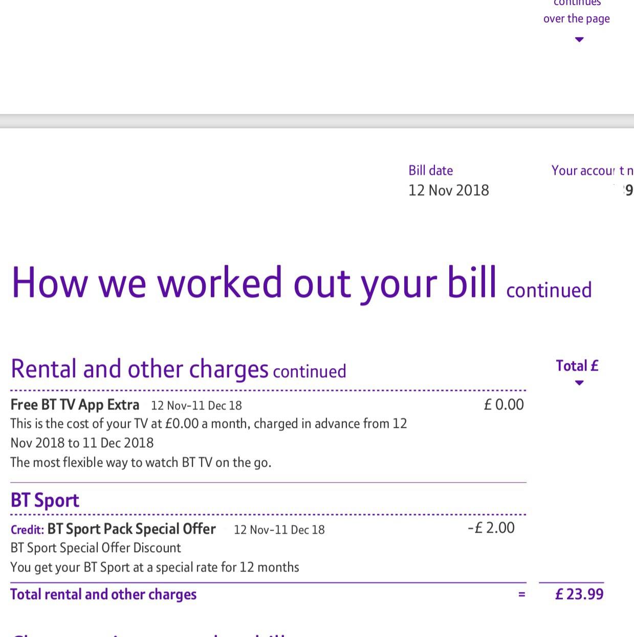 Retention deal - BT Fibre 1 broadband with BT Sport Line rental for telephone Unlimited weekend calls £23.99