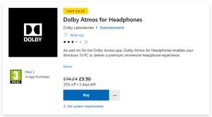 Dolby Atmos for Headphones at Microsoft for £9.96