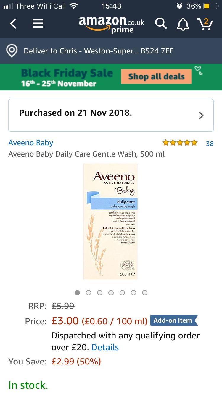 Aveeno baby wash £3 @ Amazon - Add on item