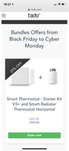 Tado Smart Thermostat - Starter Kit V3+ and Smart Radiator Thermostat Horizontal - £201.99 @ Tado