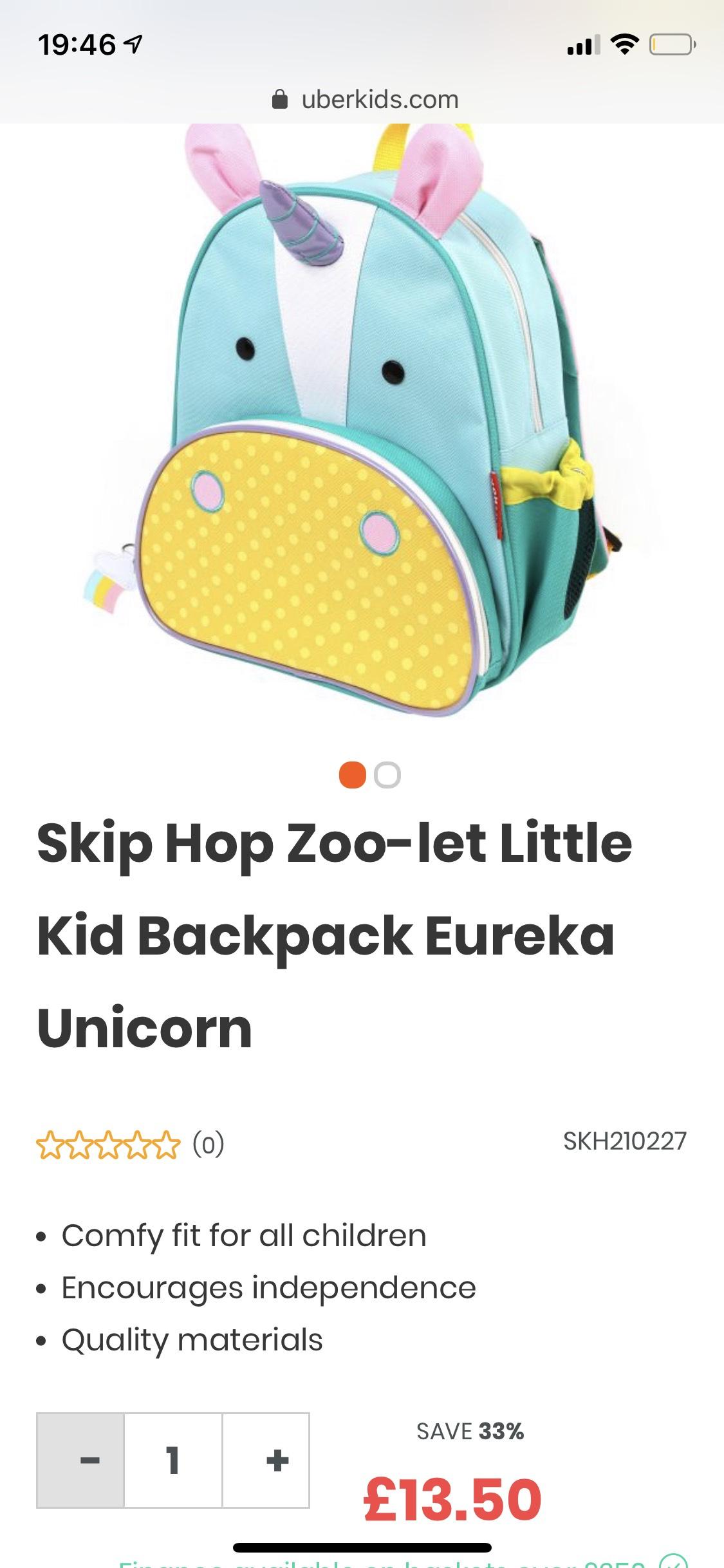Skip Hop Zoo-let Little Kid Backpack Eureka Unicorn £13.50 @ Uber Kids