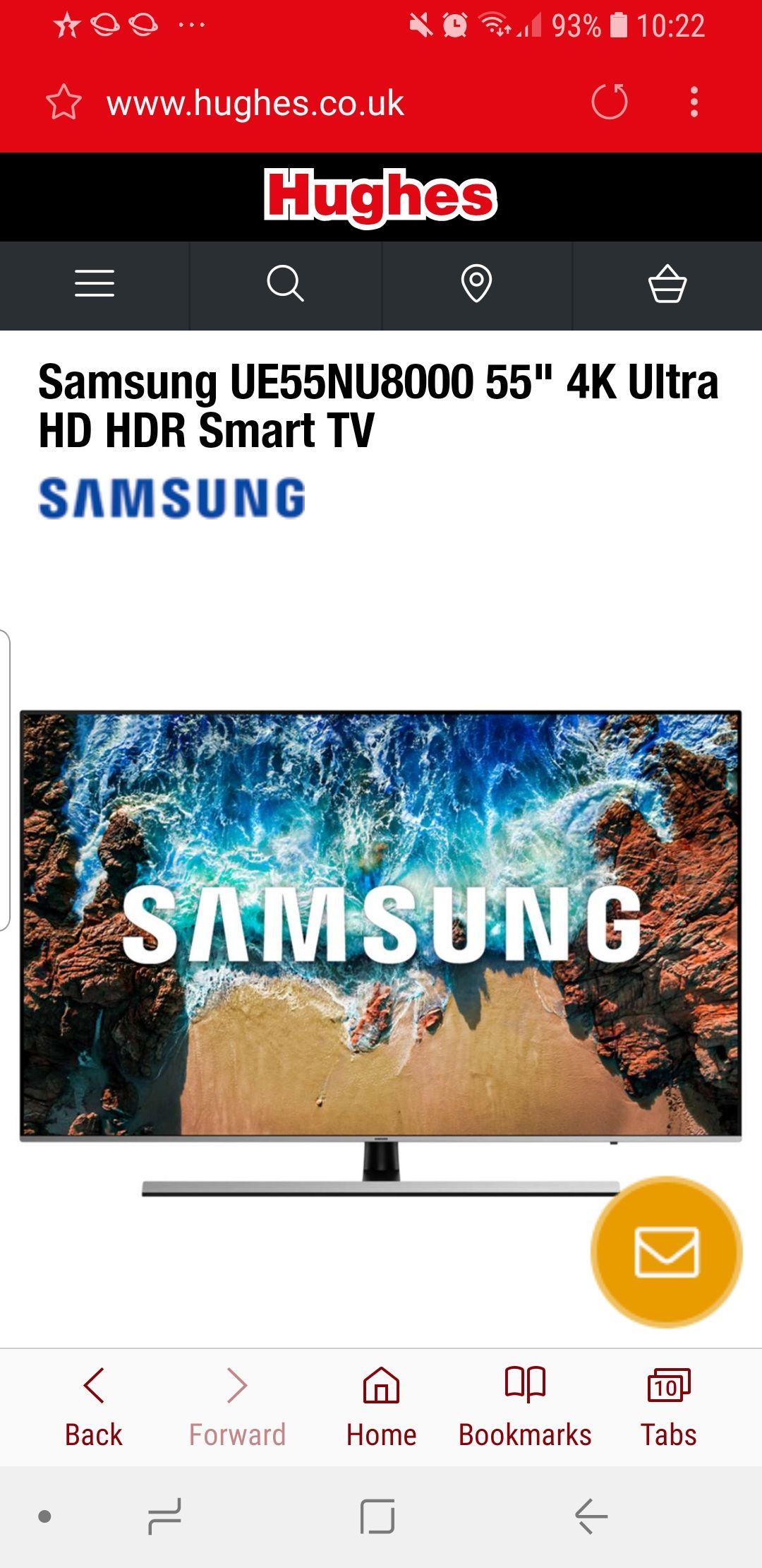 "Cheapest yet? Samsung UE55NU8000 55"" 4K Ultra HD HDR Smart TV £689 @ Hughes"