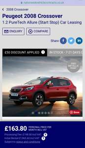 Peugeot 2008 Crossover £160 per month, 20,000 m/yr, 12 + 48 months - £8729.40 @ National vehicle contracts - more in op