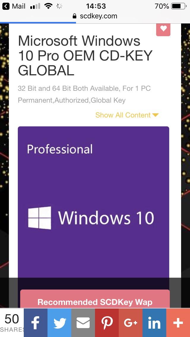 Windows 10 professional OEM key £10.58 @ scdkey