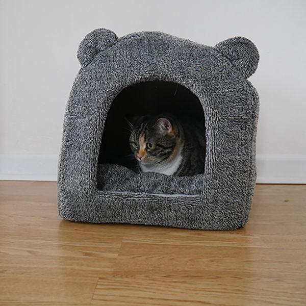 40 Winks Teddy Bear Cat Bed - Grey - £10.49 @ Pet Planet (+£2.99 P&P)