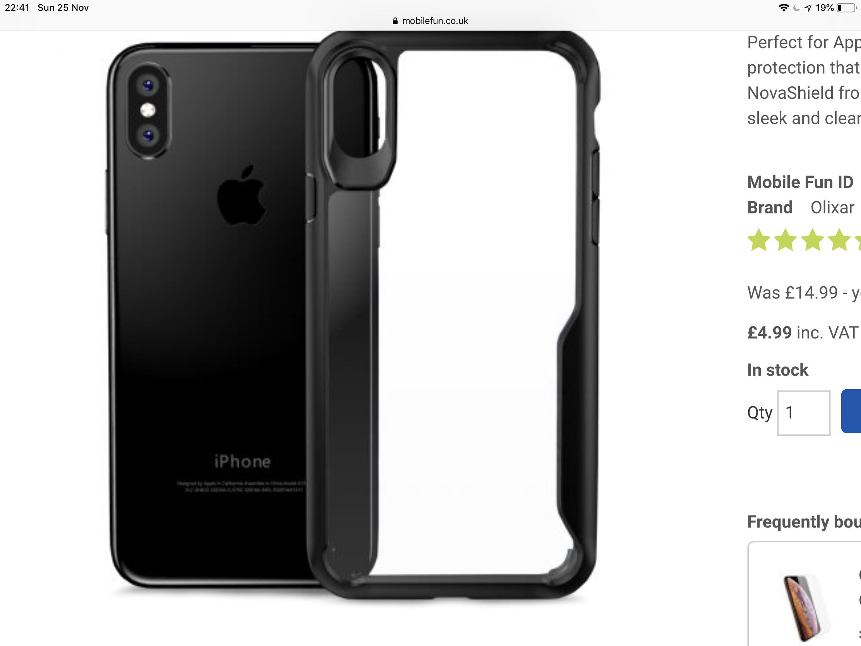 Olixar novashield iPhone XS Max case @ mobilefun £7.18 del mobilefun