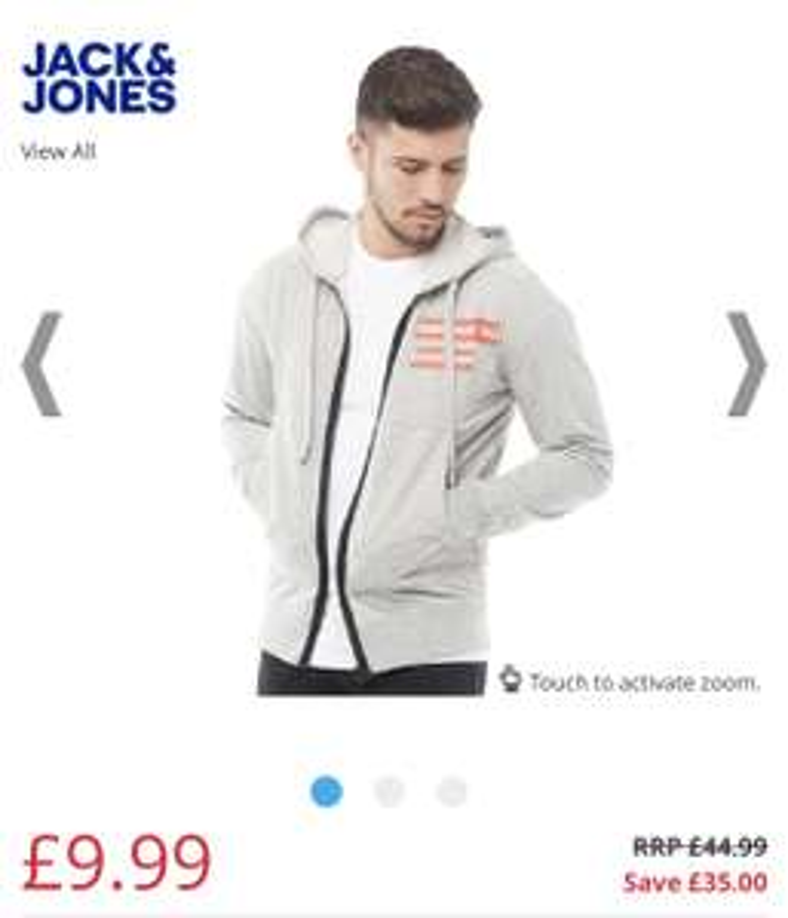 JACK AND JONES Mens Core Clone Sweat Hoody Light Grey MelangeColour: Pale Grey Marl/Red/White/Black - £9.99 @ MandM Direct (£4.99 P&P)