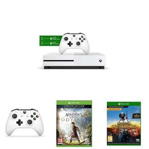 Xbox One S 1TB  with 2 Controllers + 3 Months Game Pass & Xbox Live Gold + AC Odyssey Ltd Ed + PUBG + Gears of War 4 £205.78 @ Amazon France