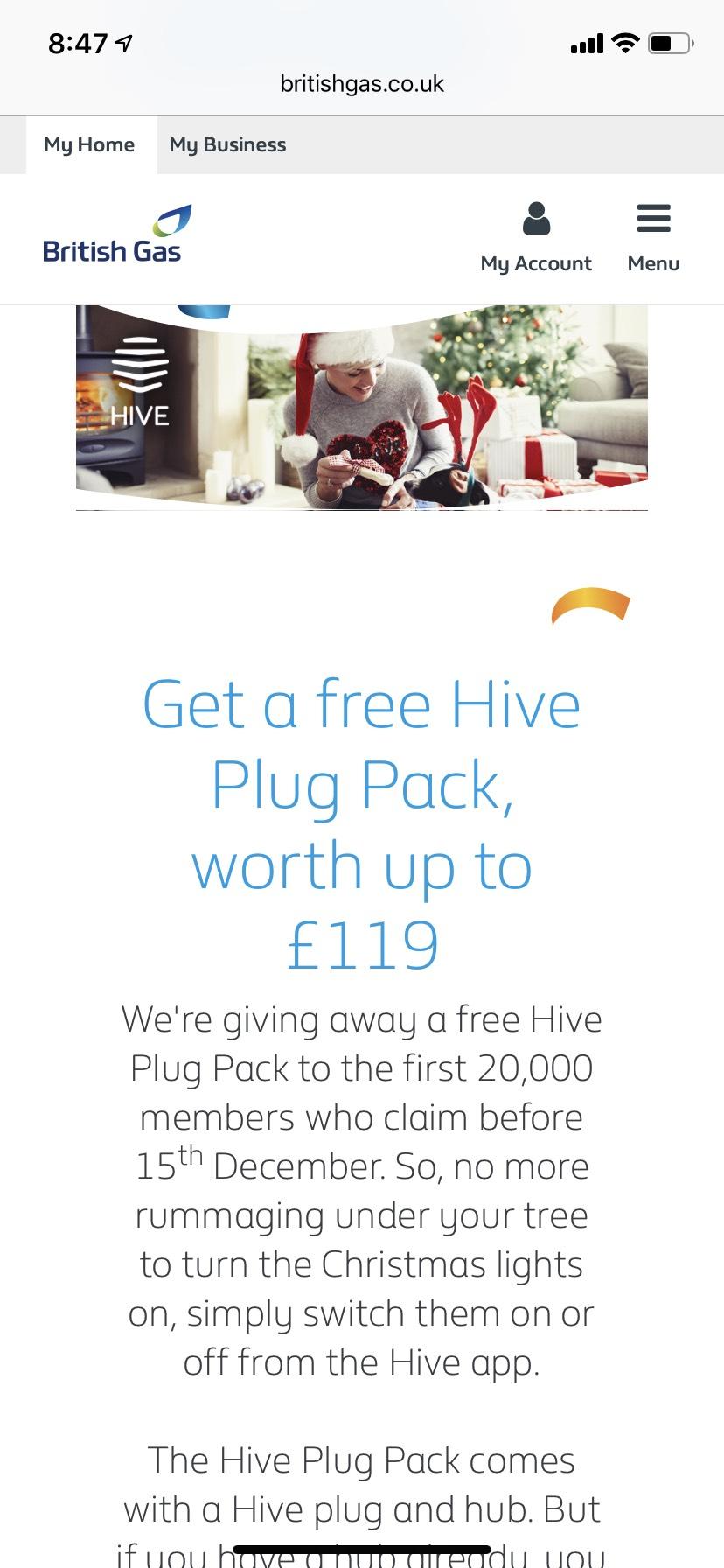 Free Hive plug pack with British Gas rewards